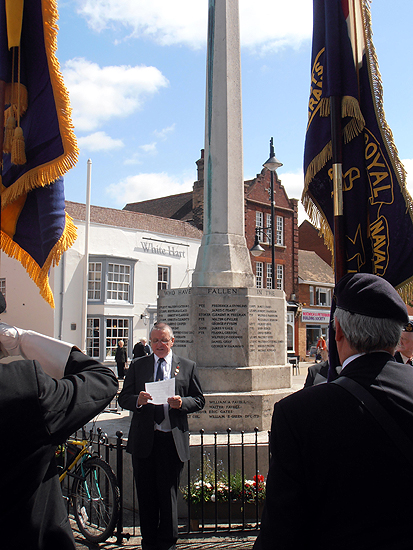 Citations being read at the War Memorial
