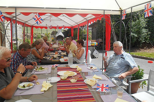 Shipmates from France Nord enjoy a curry on Armed Forces Day