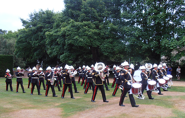 The arrival of HMS Collingwood's Royal Marine Band