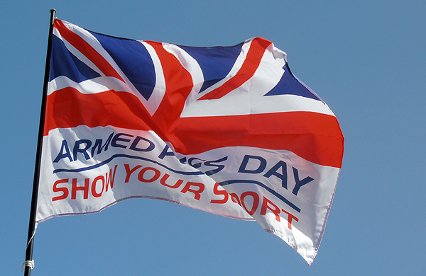The Armed Forces Day flag flying above the RNA stall