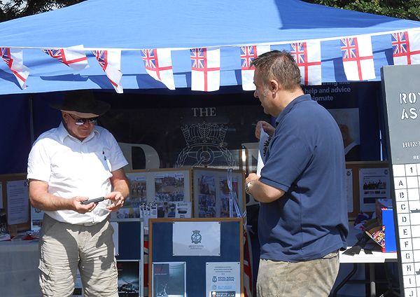 Shipmates Nino Crean and Pete Aston setting up the Branch stall