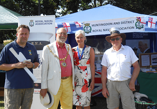 The Mayor and Mayoress of Godmanchester, David and Wendy Underwood with shipmates Pete Aston and Nino Crean