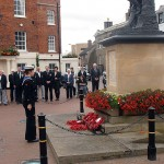 The Sea Cadet wreath at the foot of the War Memorial
