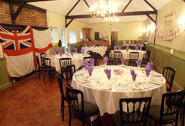 The main hall set out for the annual dinner