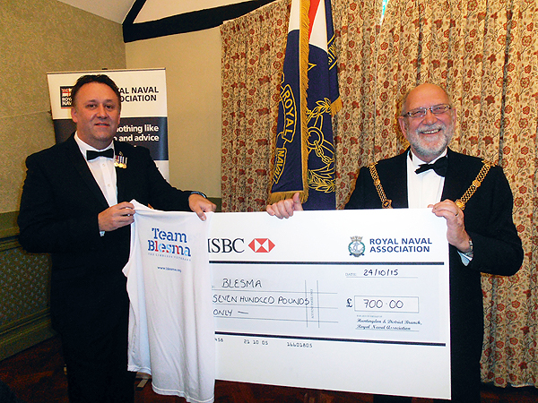 The Mayor of Godmanchester recieving a cheque on behalf of Blesma, the Limbless Veterans Charity