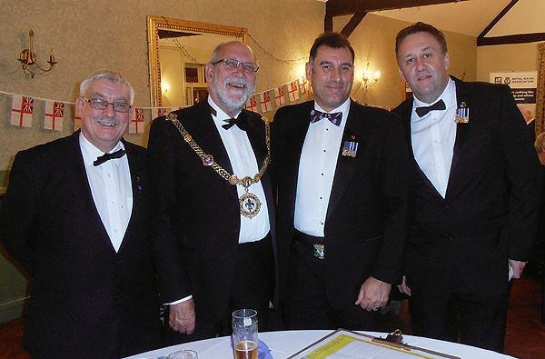 Chairman, Sec, and Treasurer pose with the Mayor of Godmanchester