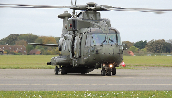 The Merlin Mk3 after shipmates departed it following a safe flight!