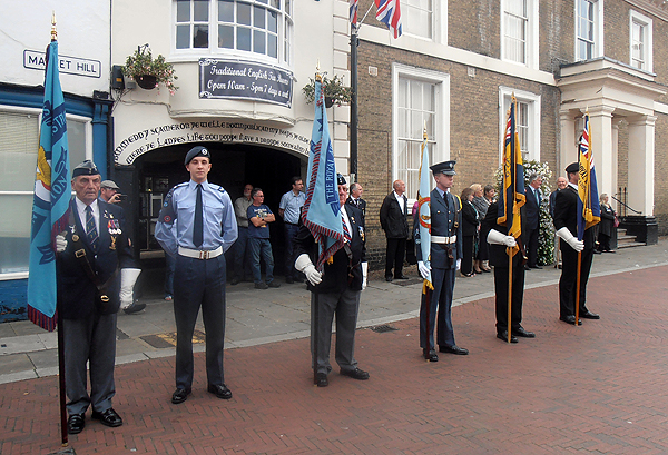 Standard Bearers and escorts take up post