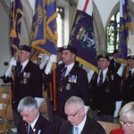 Standards arriving inside the church