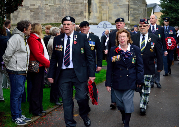 S/Ms Mike Milne, Maureen Ridley and Tony Webley arrive at the war memorial