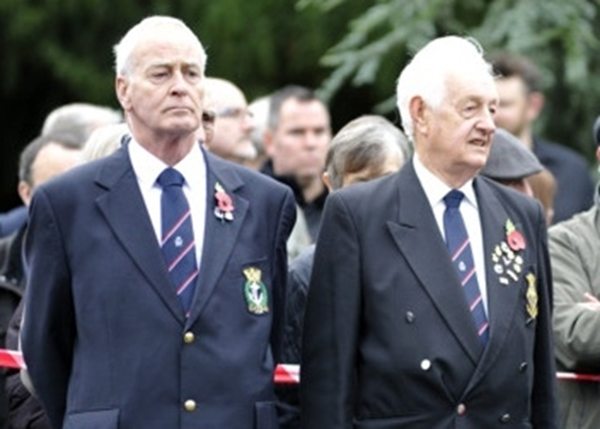 S/Ms Tony Webley and Jim Lawson pay their respects to the fallen