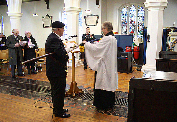 Reverend (shipmate) Andrew Milton performing the Act of Dedication