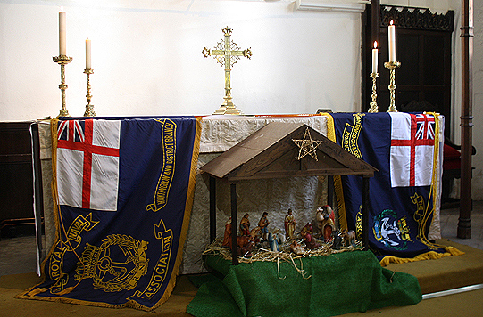 The old and new Standards placed upon the Altar in St Mary's Church