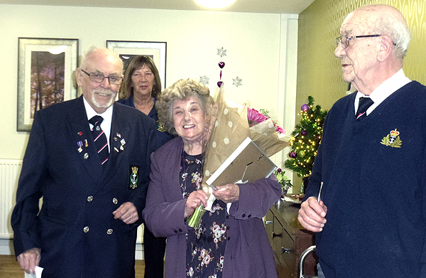 Mrs Adie Hughes becomes an honorary member of the branch