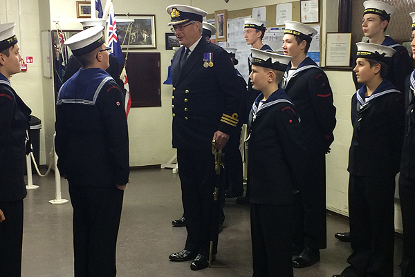 Cdr Charles Bagot-Jewitt RN inspects the cadets