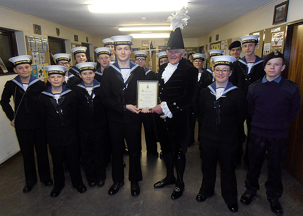 Cadet Graham and the High Sheriff (S/M Victor Lucas) with cadets from T.S. Cromwell