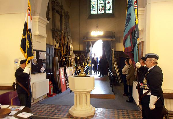 RNA, RBL and RAFA Standards are paraded as the Deputy Mayor arrives at St Mary's Church