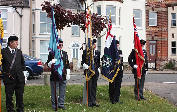 Royal Naval Association, Merchant Naval Association, Royal Air Force Association, and Royal British Legion Standards