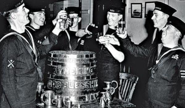 HMS BELFAST: Dry Run of Black Tot Day